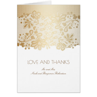 Cartão Branco do vintage e obrigado do casamento do laço