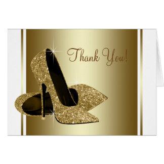 Cartão Branco e obrigado dos calçados do salto alto do