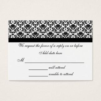 Cartão branco e preto do damasco da resposta