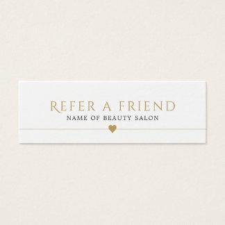 Cartão branco elegante da referência do salão de