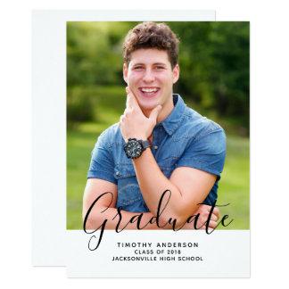 Cartão Branco elegante simples do vertical   da graduação