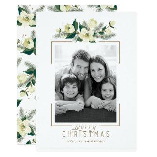 Cartão branco floral e do pinho da foto de Natal