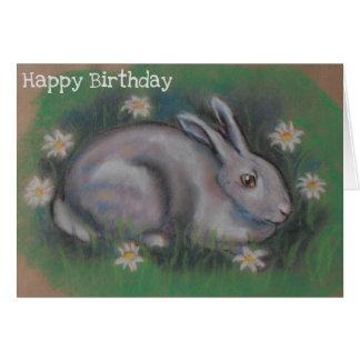 Cartão branco macio bonito do coelho de coelho
