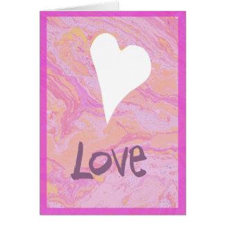 Cartão branco marmoreado rosa do dia dos namorados