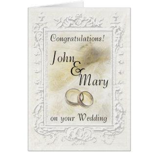Cartão branco Pastel das felicitações do casamento