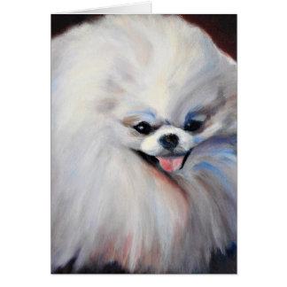 Cartão branco pequeno feliz do cão