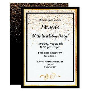 Cartão branco preto da 50th festa de aniversário e ouro