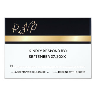 Cartão Branco preto moderno elegante e ouro que wedding