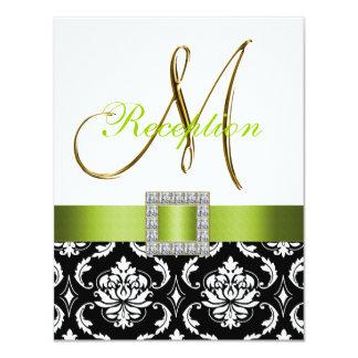 Cartão branco preto verde da recepção de casamento convite 10.79 x 13.97cm