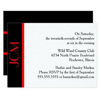 Cartão Branco vermelho da informação RSVP do partido do