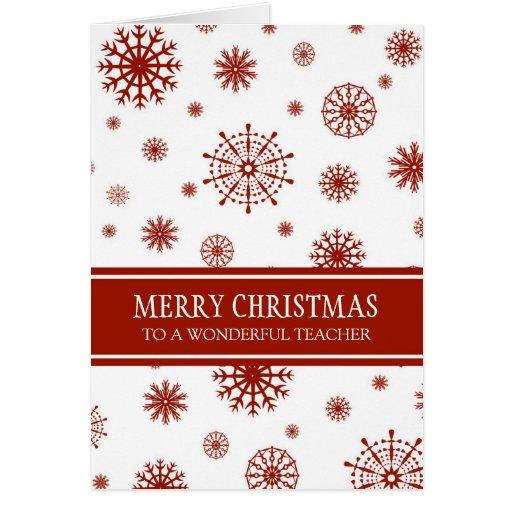Cartão branco vermelho do Feliz Natal do professor