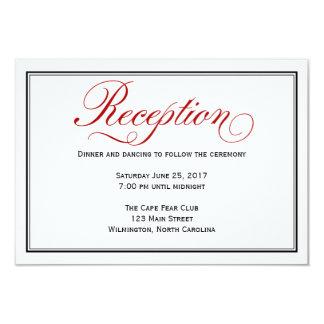 Cartão branco vermelho preto da recepção de convite 8.89 x 12.7cm