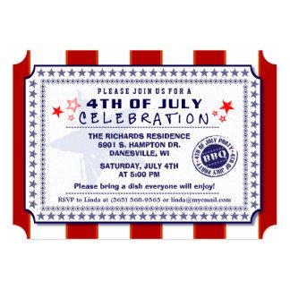 Cartão Branco vermelhos & o azul 4o do CHURRASCO de julho