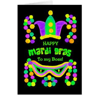 Cartão brilhante do carnaval para um chefe no