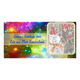 Cartão brilhante do feriado da foto das luzes e do cartão com foto