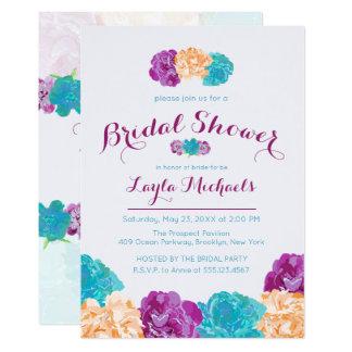 Cartão Brilhantes pintados florais, chás de panela