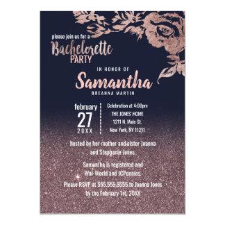 Cartão Brilho Bachelorette floral do ouro do rosa dos