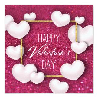 Cartão Brilho branco dos corações do dia dos namorados -