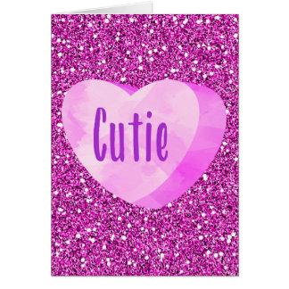 Cartão Brilho cor-de-rosa do falso de Fuschia do coração