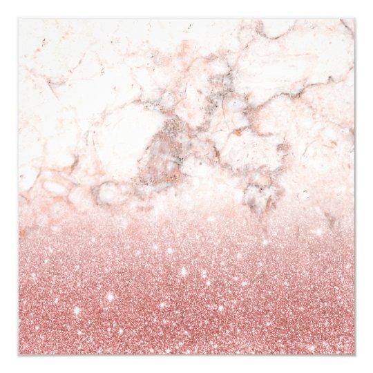 Cartão Brilho cor-de-rosa Ombre de mármore branco do ouro