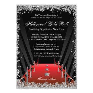 Cartão Brilho da prata do tapete vermelho da bola da gala