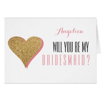 Cartão Brilho do coração você será minha dama de honra
