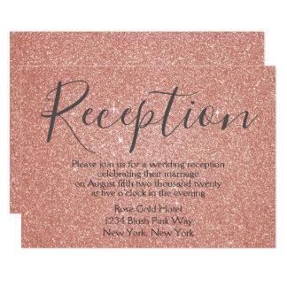 Cartão Brilho do ouro do rosa do rosa e recepção da