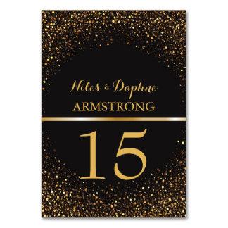 Cartão Brilho elegante preto Wedding do ouro dos números