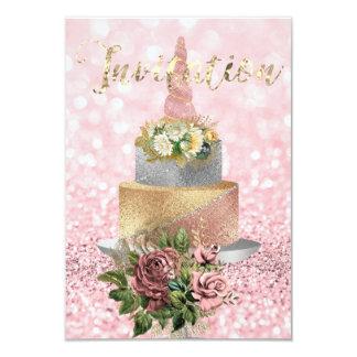 Cartão Brilho floral da flor do rosa do bolo do ouro