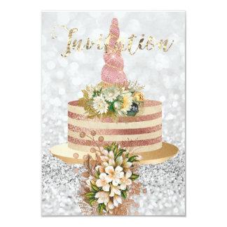 Cartão Brilho floral do rosa do rosa do bolo do ouro