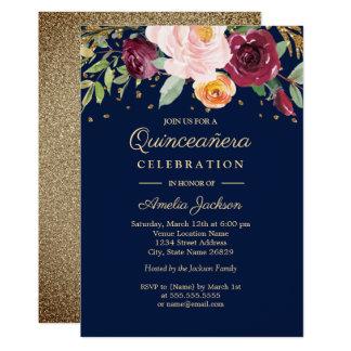 Cartão Brilho floral Quinceanera de Borgonha do marinho