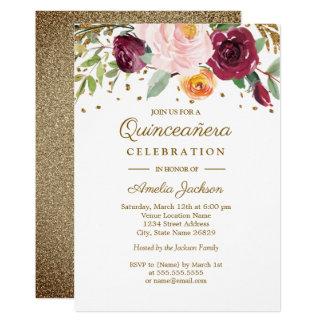 Cartão Brilho floral Quinceanera de Borgonha do ouro