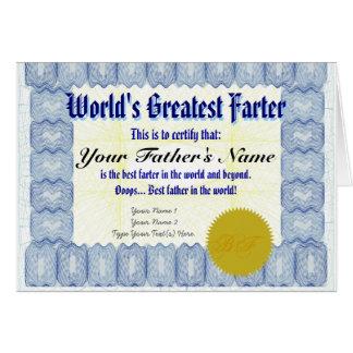 Cartão Brincadeira do pai do certificado do Farter do