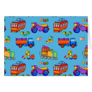 Cartão Brinquedos - caminhões & trens vermelhos da