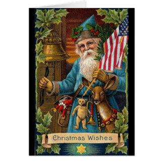 Cartão Brinquedos de Papai Noel & bandeira americana