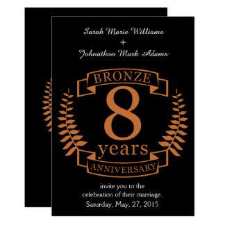 Cartão Bronzeie o oitavo aniversário de casamento 8 anos
