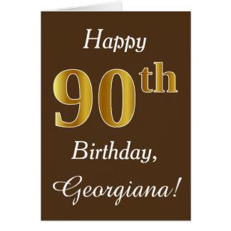 Cartão Brown, aniversário do 90 do ouro do falso + Nome