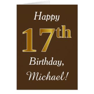 Cartão Brown, aniversário do ouro do falso 17o + Nome