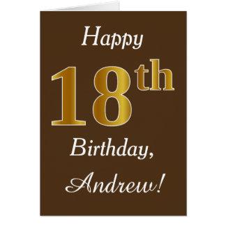 Cartão Brown, aniversário do ouro do falso 18o + Nome