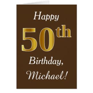 Cartão Brown, aniversário do ouro do falso 50th + Nome