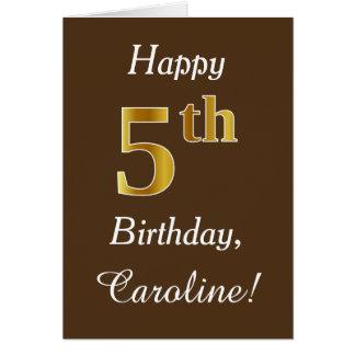 Cartão Brown, aniversário do ouro do falso 5o + Nome