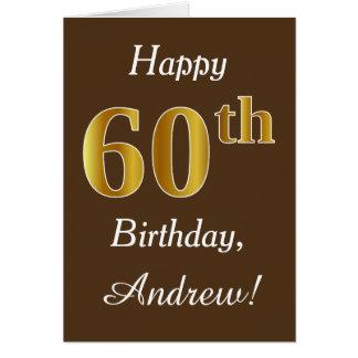 Cartão Brown, aniversário do ouro do falso 60th + Nome