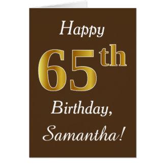 Cartão Brown, aniversário do ouro do falso 65th + Nome