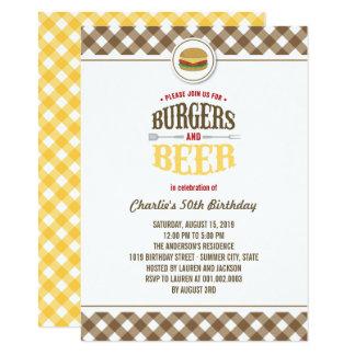 Cartão Brown verifica hamburgueres & festa de aniversário