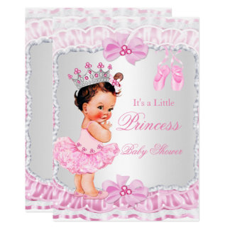 Cartão Brunette da bailarina do rosa da menina da