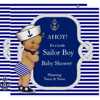 Cartão Brunette da listra azul de menino de marinheiro do