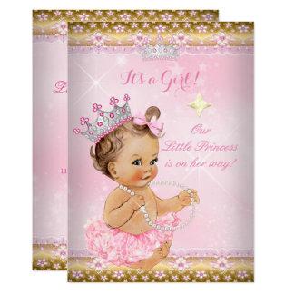 Cartão Brunette da tiara do ouro do tutu do rosa da