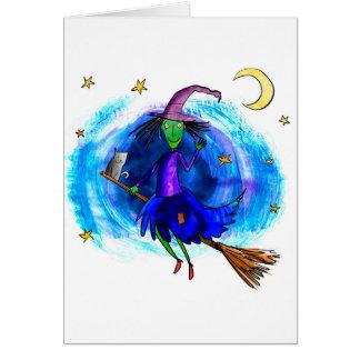 Cartão Bruxa amigável com seu gato