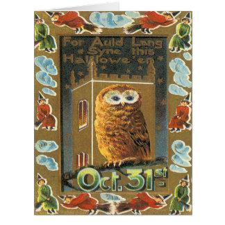 Cartão Bruxa Auld o Dia das Bruxas do vôo de Lang Syne da