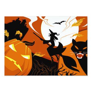 Cartão Bruxa, bastões e abóboras felizes do Dia das